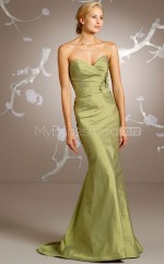 Sage Taffeta Mermaid Sweetheart Long Bridesmaid Dresses (NZBD06211)