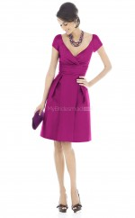 Fuchsia Satin A-line V-neck Short Bridesmaid Dresses (NZBD06220)