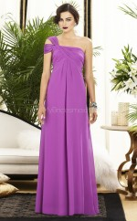 Lilac Chiffon Sheath One Shoulder Long Bridesmaid Dresses (NZBD06224)