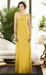 Yellow Satin Chiffon Sheath One Shoulder Long Bridesmaid Dresses (NZBD06226)