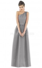 Silver Satin A-line One Shoulder Long Bridesmaid Dresses (NZBD06230)