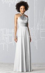 Silver Charmeuse A-line Halter Floor-length Vintage Bridesmaid Dresses (NZBD06237)