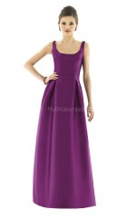 Grape Satin Princess Straps Long Bridesmaid Dresses (NZBD06243)