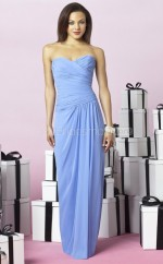Sky Blue Chiffon Sheath Sweetheart Long Bridesmaid Dresses (NZBD06244)