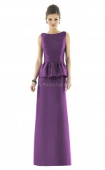 Grape Satin Sheath Bateau Long Bridesmaid Dresses (NZBD06247)