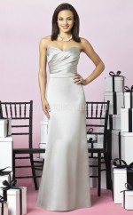 Silver Charmeuse Sheath Sweetheart Long Bridesmaid Dresses (NZBD06250)