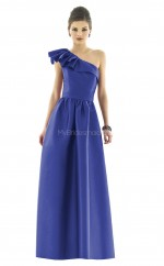 Royal Blue Satin Chiffon Princess One Shoulder Long Bridesmaid Dresses (NZBD06251)