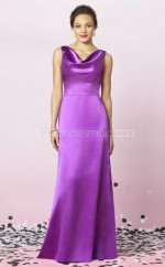 Lilac Charmeuse Sheath Cowl Long Bridesmaid Dresses (NZBD06253)