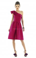 Fuchsia Taffeta A-line One Shoulder Knee-length Bridesmaid Dresses (NZBD06258)