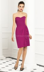 Fuchsia Chiffon Sheath Sweetheart Knee-length Bridesmaid Dress For Beach(NZBD06270)