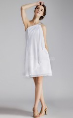 White Chiffon Sheath One Shoulder Short Vintage Bridesmaid Dresses (NZBD06280)