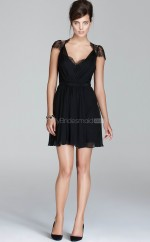 Black Lace A-line V-neck Short Bridesmaid Dresses (NZBD06306)