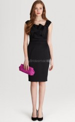 Black Satin , Knitwear Sheath Straps Knee-length Bridesmaid Dresses (NZBD06307)