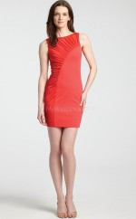 Red Chiffon Sheath Bateau Neckline Short Bridesmaid Dress For Beach(NZBD06311)