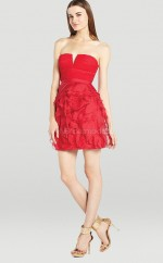Red Chiffon , Organza A-line Strapless Short Bridesmaid Dresses (NZBD06312)