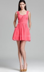 Candy Pink Chiffon A-line Straps Short Bridesmaid Dress For Beach(NZBD06316)