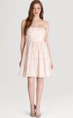 Pink Chiffon A-line Strapless Short Bridesmaid Dress For Beach(NZBD06321)
