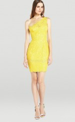 Yellow Lace Sheath One Shoulder Short Bridesmaid Dresses (NZBD06327)