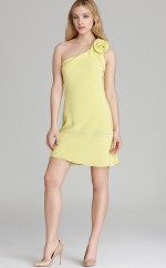 Yellow Chiffon Sheath One Shoulder Short Bridesmaid Dresses (NZBD06328)