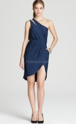 Ink Blue Chiffon Sheath One Shoulder Short Bridesmaid Dresses (NZBD06329)