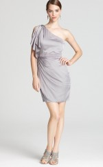 Silver Satin Chiffon Sheath One Shoulder Short Bridesmaid Dresses (NZBD06337)