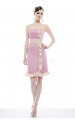 Pink Satin Chiffon Sheath Sweetheart Neckline Short Bridesmaid Dresses (NZBD06338)