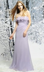 Lavender Chiffon Sheath Strapless Long Bridesmaid Dresses (NZBD06347)