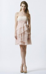 Pearl Pink Chiffon A-line Strapless Short Bridesmaid Dress For Beach(NZBD06348)