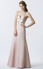 Pearl Pink Satin A-line Strapless Long Bridesmaid Dresses (NZBD06350)