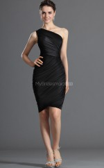 Black Satin Chiffon Sheath One Shoulder Short Bridesmaid Dresses (NZBD06356)