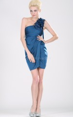 Royal Blue Chiffon Sheath One Shoulder Short Bridesmaid Dresses (NZBD06363)