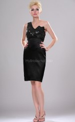 Black Satin Sheath One Shoulder Short Bridesmaid Dresses (NZBD06364)