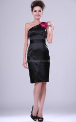 Black Satin Sheath One Shoulder Short Bridesmaid Dresses (NZBD06368)
