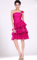 Fuchsia Chiffon A-line One Shoulder Short Bridesmaid Dresses (NZBD06373)