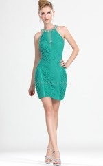 Jade Chiffon Sheath Halter Short Bridesmaid Dress For Beach(NZBD06374)