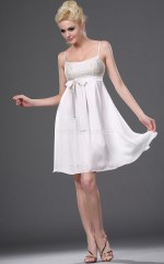 Ivory Chiffon A-line Straps Short Bridesmaid Dress For Beach(NZBD06379)