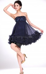 Ink Blue Chiffon , Lace A-line Strapless Short Bridesmaid Dresses (NZBD06384)
