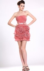 Candy Pink Chiffon Sheath Strapless Short Bridesmaid Dress For Beach(NZBD06385)