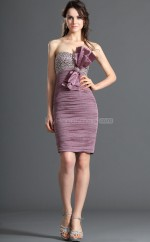 Lilac Silk Like Chiffon Sheath Strapless Short Bridesmaid Dress For Beach(NZBD06389)