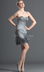 Silver Organza Sheath Sweetheart Neckline Short Bridesmaid Dresses (NZBD06393)