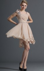 Nude Pink Chiffon A-line Straps Short Bridesmaid Dress For Beach(NZBD06395)