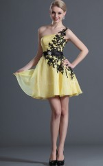 Yellow Chiffon A-line One Shoulder Short Bridesmaid Dresses (NZBD06411)