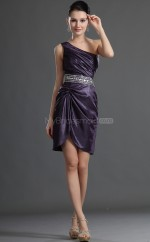 Regency Lace Sheath One Shoulder Short Bridesmaid Dresses (NZBD06415)