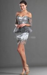 Silver Lace Sheath Off The Shoulder Short Bridesmaid Dresses (NZBD06416)