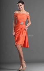 Orange Chiffon , Lace Sheath Off The Shoulder Short Vintage Bridesmaid Dresses (NZBD06424)