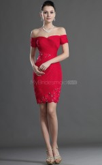 Red Chiffon , Lace Sheath Off The Shoulder Short Bridesmaid Dresses (NZBD06425)