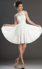 White Lace A-line Jewel Neckline Short Vintage Bridesmaid Dresses (NZBD06426)