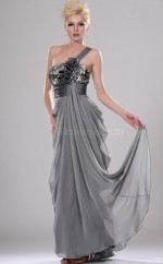 Silver Silk Like Chiffon A-line One Shoulder Long Bridesmaid Dresses (NZBD06436)