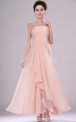 Pink Chiffon A-line One Shoulder Long Bridesmaid Dresses (NZBD06438)