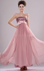 Nude Pink Chiffon A-line Strapless Long Bridesmaid Dresses (NZBD06443)